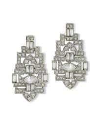Kenneth Jay Lane | Metallic Crystal Art Deco Clip Earring | Lyst