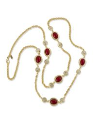 Kenneth Jay Lane | Red Ruby Cabochon Necklace | Lyst