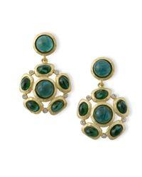 Kenneth Jay Lane | Green Emerald Cabochons Pierced Earring | Lyst
