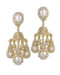 Kenneth Jay Lane   Metallic Crystal And Pearl Chandelier Clip Earring   Lyst