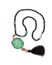 Kenneth Jay Lane | Black Carved Jade Tassle Bead Necklace | Lyst