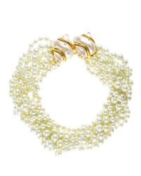 Kenneth Jay Lane | Metallic 8 Row Pearl Necklace With Double Pearl Crystal Shell Clasp | Lyst