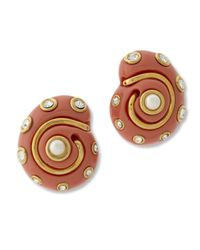 Kenneth Jay Lane   Pink Coral Snail Clip Earring   Lyst