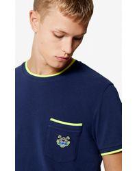 KENZO Blue Tiger Pocket T-shirt for men