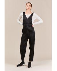 Pleats Please Issey Miyake Black V-neck Pleated Jumpsuit