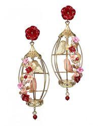 Of Rare Origin - Multicolor Lovebirds Cage Earrings - Lyst