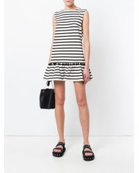 Marc Jacobs Multicolor Pompom-embellished Striped Cotton-jersey Mini Dress