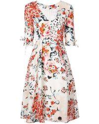 Carolina Herrera Black V Neck Floral A Line Midi Dress