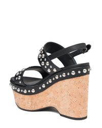 Saint Laurent - Brown Studded Cork Wedge Sandals - Lyst