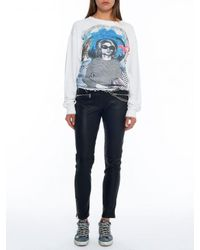 Miaou Blue Carlotta Leather Skinny Pant With Chain Belt
