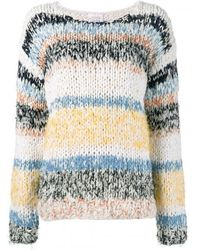 Chloé - Multicolor Striped Chunky-knit Jumper - Lyst