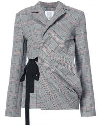 Rosie Assoulin | Gray Check Wrap Sash Blazer | Lyst