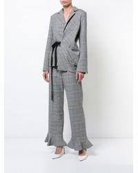 Rosie Assoulin - Gray Check Wrap Sash Blazer - Lyst