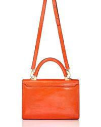 Stalvey Orange Mini Embossed Pattern Top Handle