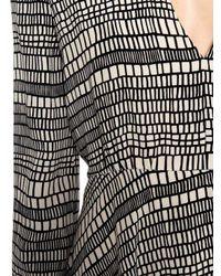Valentino Gray Long Sleeve Square Print Silk Midi Dress