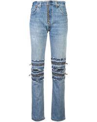 Re/done Blue Muti Zip Details Jeans