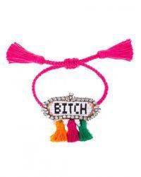 Shourouk - Pink Multicolor 'hippie Bitch' Bracelet - Lyst