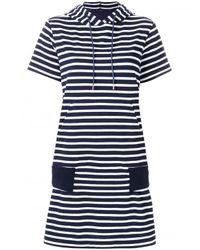 Sacai Blue Striped Hoodie Dress