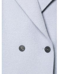 Harris Wharf London Blue Dropped Shoulder Double Breasted Coat