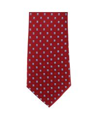 Michelsons Of London Red Neat Diamond Polyester Tie for men