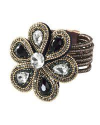 Alba Moda Armband Zwart::geelgoudkleur in het Multicolor