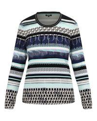Olsen Blue Rundhalsshirt mit modernem Streifenprint