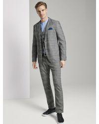 Tom Tailor Klassische glencheck Weste in Gray für Herren