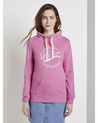 Tom Tailor Denim Pink Sweatshirt mit Print vorne und Stehkragen