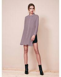 Krisa - Purple Tunic Button Front Shirt - Lyst