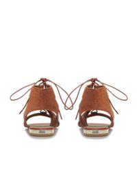 Carvela Kurt Geiger Brown Kim Rust Flat Strappy Lace Up Sandals