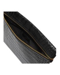 Kurt Geiger Pink Croc London Pouch Black Leather Day Bags