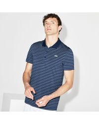 f0c48c91b7 Men's Blue Sport Striped Technical Jersey Golf Polo
