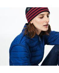 98ccbe24e8b Lyst - Lacoste Striped Cotton Beanie in Blue for Men
