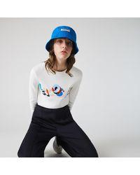 Lacoste White Crew Neck Embroidery Organic Cotton Sweater