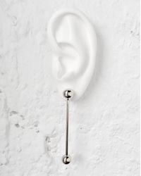 Lady Grey Metallic Barbell Earrings In Silver