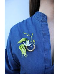Lady Grey - Multicolor Botanical Brooch- Gold Composition 2 - Lyst