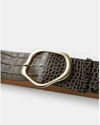 Lafayette 148 New York Brown Italian Croc-embossed Leather Irregular Circle Buckle Belt