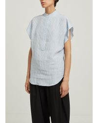 Dusan Multicolor Striped Linen Mandarin Collar Blouse