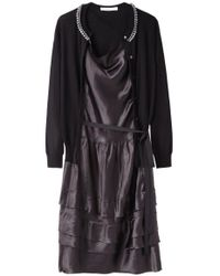 Sacai Luck Black Open Cardigan Dress With Jewels