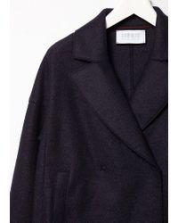 Harris Wharf London Blue Oversized Collar Coat