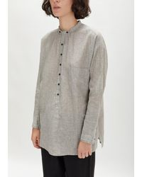 Pas De Calais - Gray Linen Cotton Collarless Long Shirt - Lyst