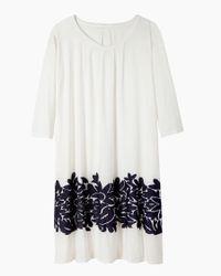 Zucca White Papaloa Jacquard Trim Dress