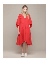 Limi Feu - Red Tuck Op Dress - Lyst