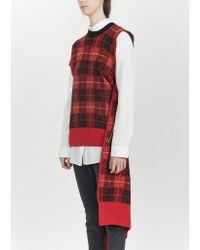 Junya Watanabe Red Wool Mohair Tartan Check Sweater
