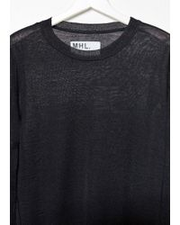 MHL by Margaret Howell Black Thermal T-shirt Pullover