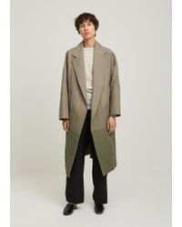 Dusan Green Hand Dyed Oversized Open Front Coat