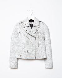 MM6 by Maison Martin Margiela - Multicolor Crackle Leather Jacket - Lyst