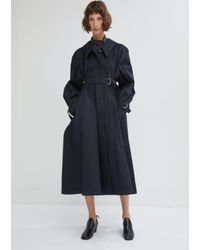 Lemaire Blue Water Resistant Cotton Twill Trench Coat