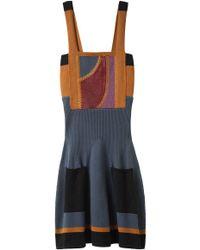 Proenza Schouler Blue Patchwork Knit Dress