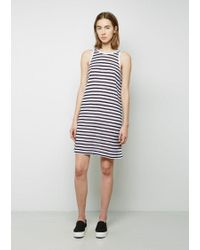 T By Alexander Wang Multicolor Striped Rayon-linen Dress